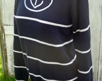 Vintage Navy/Nautical Sweater, Anchor, 90s/80s. White Stripe, Women's Small