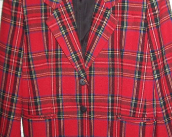 Vintage Stewart Plaid Classic Blazer Jacket For Your Fall , Women's size 12