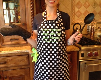 Ladies Black Polka Dot, Ruffled Apron with Personalized Embroidery