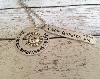 You are my sunshine - Hand stamped necklace - You are the sunshine of my life necklace - Sun jewelry - Personalized jewelry - Custom gift