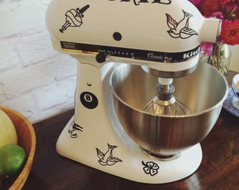 Tough Cookie: Cute and Funny Tattoo Pattern Kitchenaid Mixer Decal Set