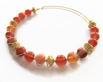 Carnelian and Orange Agate Wire Bracelet Carnelian Beaded Bracelet Orange Beaded Bracelet Orange Gemstone Bracelet (MBX186)