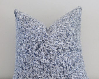 Tribal Indigo White Perennials Basket Weave Outdoor Decorative Pillow Cover 16 18 20 22 24 26 Throw Pillow, Accent Pillow, Toss Pillow