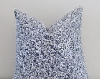 Tribal Indigo White Perennials Basket Weave Outdoor Decorative Pillow Cover 16 18 20 22 24 26 Throw Pillow, Accent Pillow, Toss Pillow