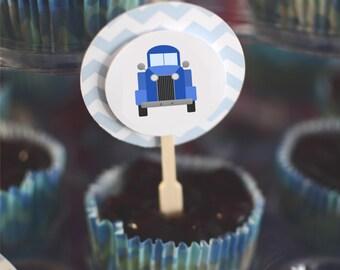 Blue Truck Cupcake Toppers {Digital Item}