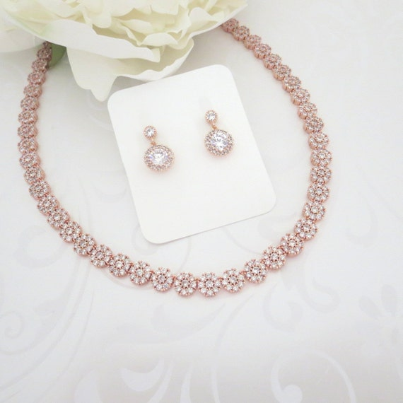 Simple Rose Gold Bridal Necklace Rose Gold Wedding Jewelry