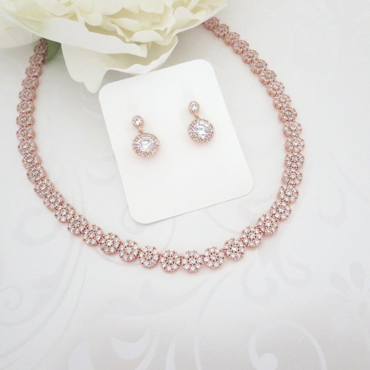 simple rose gold bridal necklace rose gold wedding jewelry. Black Bedroom Furniture Sets. Home Design Ideas