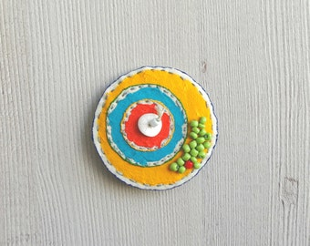 Hand painted brooch yellow fabric brooch, beaded brooch, textile brooch, fabric jewelry, shawl pin, round badge, fabric pin, coat badge