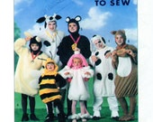 ADULT Halloween Costumes Simplicity 9305 0611 Animals Dog/Puppy, Dalmation Poodle Cow Lamb Mouse Squirrel Bumble Bee Sz: X-Sm-Sm-Mdm-Lrg