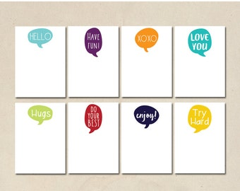 lunch box notes - printable lunch box love notes - hand illustrated design - printable instant download - DIY - 8 assorted colors & designs