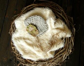 Olive Green and Oatmeal Tan Baby Hat, Newborn Flower Bonnet, Flower Baby Bonnet, Baby Ruffle Bonnet, Newborn Props
