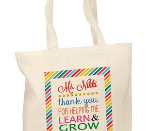 Personalized Cotton Tote Bags Custom Teacher Appreciation Gift Bags