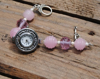 Watch bracelet with Lampwork beads in murano glass pink