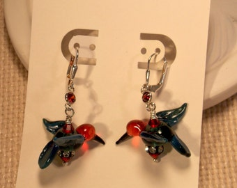 Hummingbird Glass Lampwork Dangle Earrings