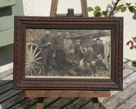 Small French antique photo and frame, WW1 French photo, French artillery crew photo, vintage photo, antique photo, French photo, militaria
