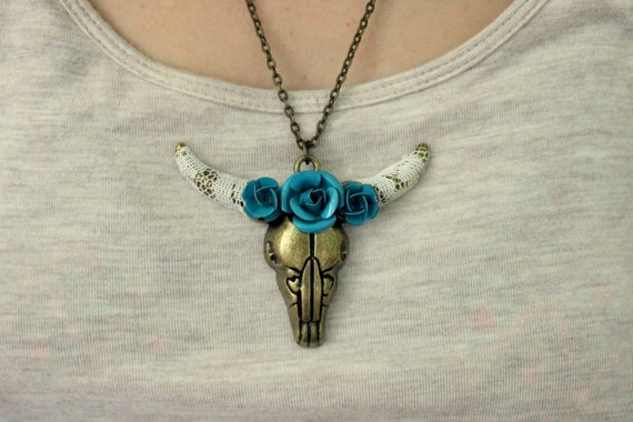 items similar to cow skull necklace southwestern jewelry