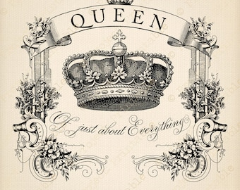QUEEN of Just About Everything quote - Instant Download Royal Crown Digital Clipart - printable transfer image graphics iron-on fabric