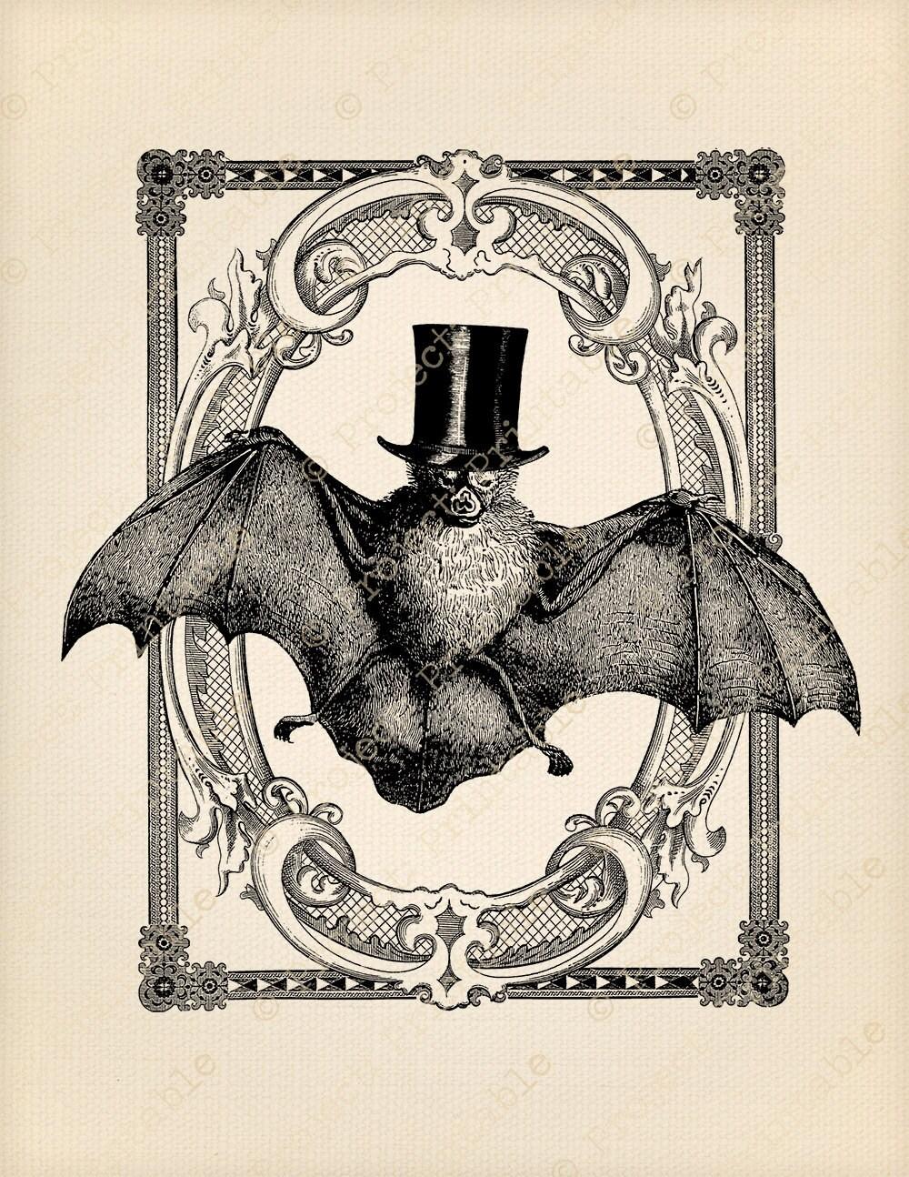 Instant Download clipart VINTAGE Halloween Vampire BAT Top