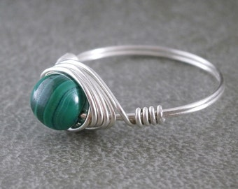 Pure Titanium Ring Real Malachite Ring Wire Wrapped Jewelry Handmade Malachite Jewelry Hypoallergenic Ring Beaded Wire Ring Green and Black