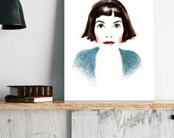 Audrey Tautou - Amelie Paulin- Poster de Cine - Movie Poster - Wall Art Print - Digital Print - Regalo de cine - French