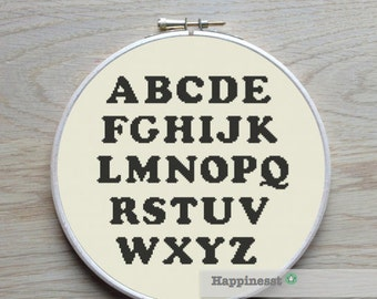 modern cross stitch pattern, alphabet, cooper black, ABC,  PDF pattern ** instant download**