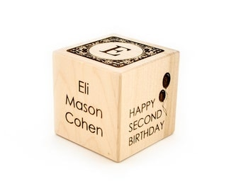 Second Birthday Gift Personalized Baby Wooden Block Engraved 2nd Birthday Personalized Gift Boy