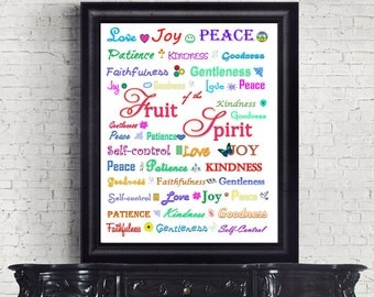 Bible Verse Christian Scripture Art Print Wall Decor Printable Fruit of the Spirit INSTANT DOWNLOAD digital Galatians 5:22