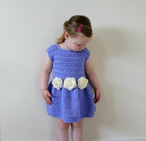 Items similar to CROCHET FLOWER DRESS, Crochet Pattern ...