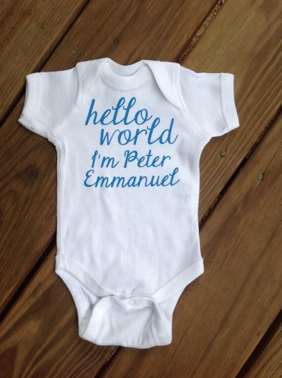 Go Hello World: Items Similar To Hello World Onesie, Birth Announcement