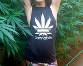 Altered, oversized, cannabis muscle tank
