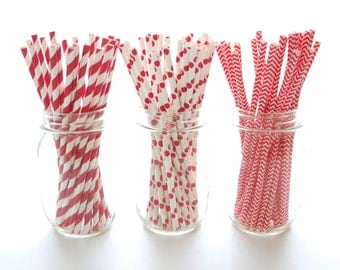 Red Straws Variety Pack, Stir Sticks, Eco Friendly Straws, Red and White Drinking Straws, 75 Pack - Red Striped, Chevron & Polka Dot Straws