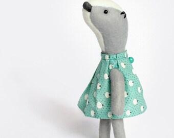 Mint bear badger / soft sculpture / My Woodland Friends / precious little fellow