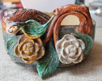 Japanese Ceramic/ Planter/Floral Ceramic/Floral Planter/Late 19th Century/Hand Crafted/Dimensional Sculpture/Antique