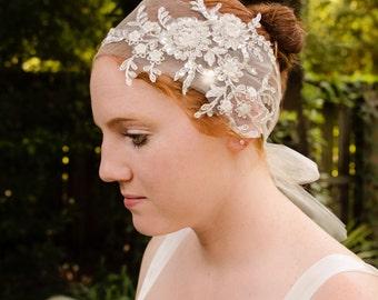 Ivory Tulle Headband, Pearl and Silver Headband, Sequin Flower Headband, Tulle Hair Tie, Bling Tulle Headband- CAMERON
