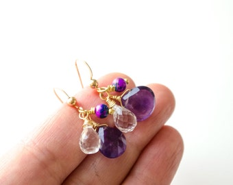 Amethyst earrings, Purple earrings, Purple drop earrings, Purple gemstone earrings, Gold amethyst earrings, Purple amethyst earrings, Dangle