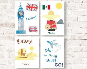 512, Oh, the places you'll go, Dr Seuss, kids wall art, travel nursery, Egypt, England,Mexico, playroom decor, boy art nursery