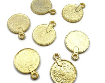 5 Pieces Ottoman Coin Replica Charms, 22 x 17mm 24K Gold Plated Coin Charms - CCG007