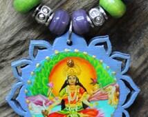 Lakshmi pendant, Hindu Goddess Lakshmi, Lakshmi necklace, Goddess necklace, Hindu jewelry,Purple lotus necklace, purple wood pendant