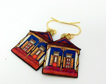 New Orleans Eastlake Shotgun House in Teal and Sienna – N. Villere St. Earrings