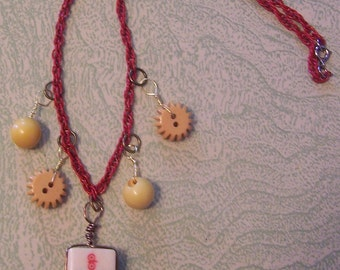 Vintage Mah Jongg tile yellow Bakelite button pendant necklace
