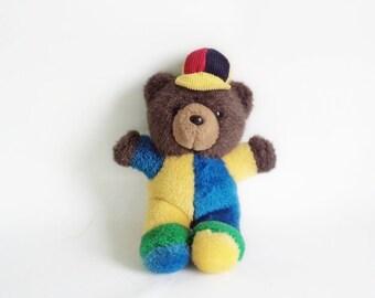Vintage Plush Toy, Plush Teddy Bear, Multicolor Teddy Bear Toy, Vintage Plush Bear, 1970, Old Stuffed Teddy Bear,Yellow, Green, Blue, Brown
