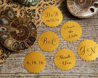 25 Old Gold Save the Date, Printed Envelope seals, wedding stickers invitations. Scalloped Round Favour stickers. Matt Pearlised shimmer