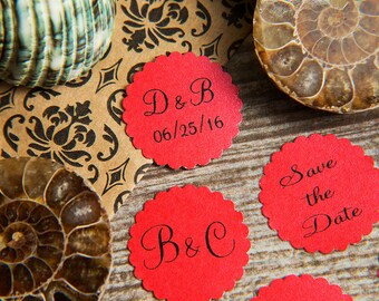 25 Red Save the Date, Printed Envelope seals, wedding stickers invitations. Scalloped Round Favour stickers. Matt Pearlised shimmer