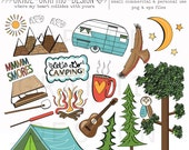 CAMPING CLIPART, camper clipart, nature clipart, digital illustrations, instant download eps summer camping clipart set, digital paper pack