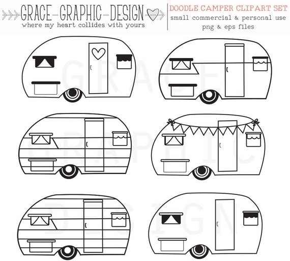 CAMPER Clipart Retro Camper Vector CLIPART Commercial Use Instant Download Digital