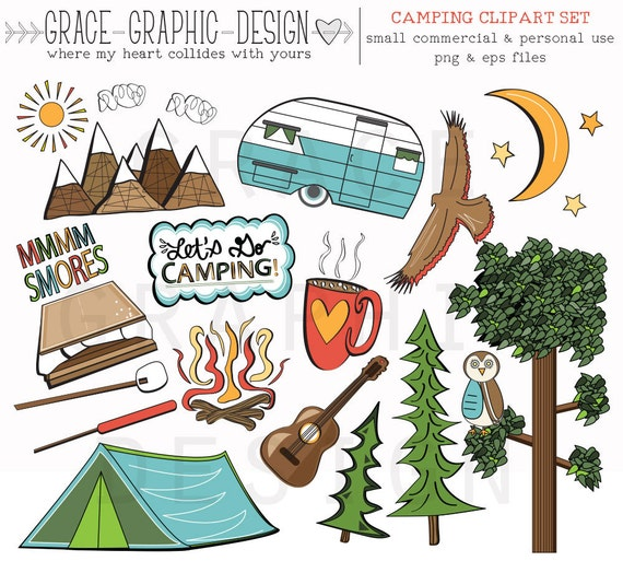 CAMPING CLIPART Wohnmobil Clipart Natur Digitale Illustrationen Sofortigen Download Eps Sommer Camping Clip Art Set Digitales Papier