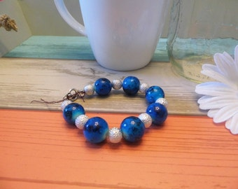 Blue & Silver Stacked Bead Bracelet