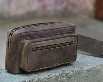Hip bag, waist bag, leather belt bag, leather bag, mens bag, C024 Brown