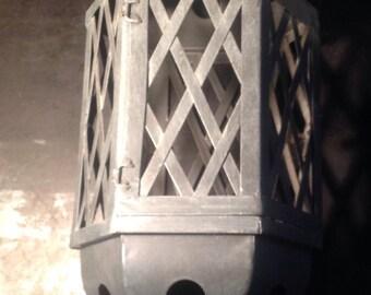 Zinc lantern for candle