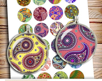 Paisley Pattern 16mm 25mm 1 inch 1.5 inch Circle Images for Pendants, Bottle Caps Printable Digital Collage Sheet Instant Download